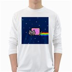 Nyan Cat White Long Sleeve T-Shirts Front