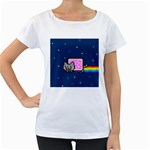 Nyan Cat Women s Loose-Fit T-Shirt (White) Front