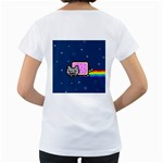 Nyan Cat Women s Loose-Fit T-Shirt (White) Back