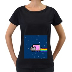 Nyan Cat Women s Loose Fit T Shirt (black)