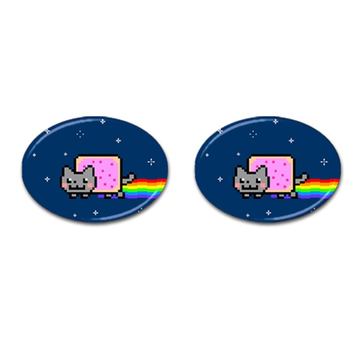 Nyan Cat Cufflinks (Oval)