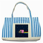 Nyan Cat Striped Blue Tote Bag Front