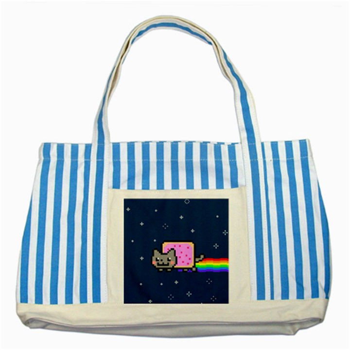 Nyan Cat Striped Blue Tote Bag