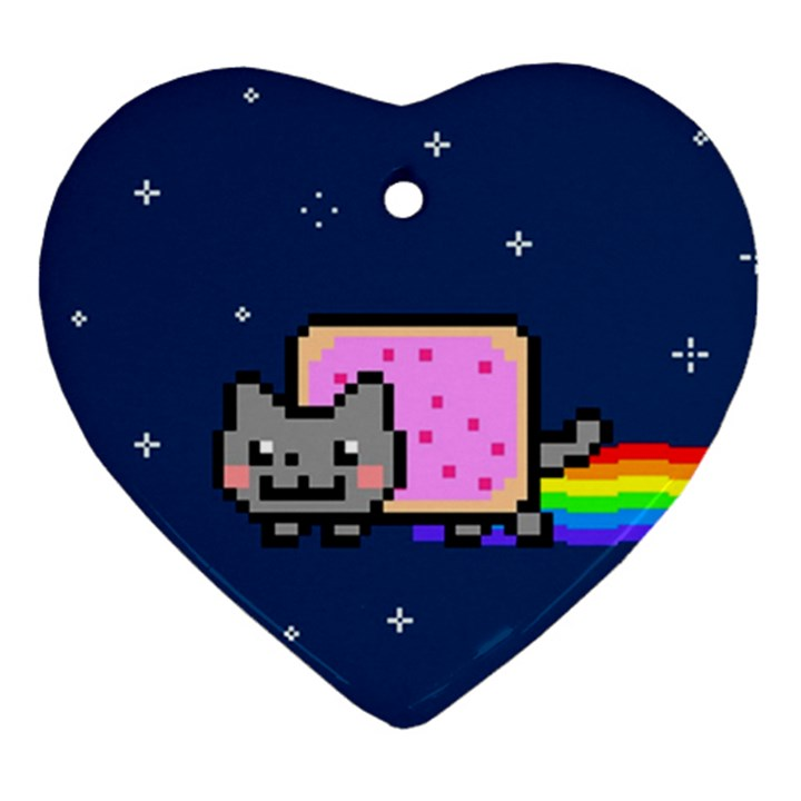 Nyan Cat Heart Ornament (2 Sides)