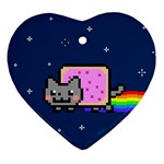 Nyan Cat Heart Ornament (2 Sides) Back