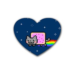 Nyan Cat Rubber Coaster (heart)