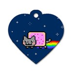 Nyan Cat Dog Tag Heart (Two Sides) Back