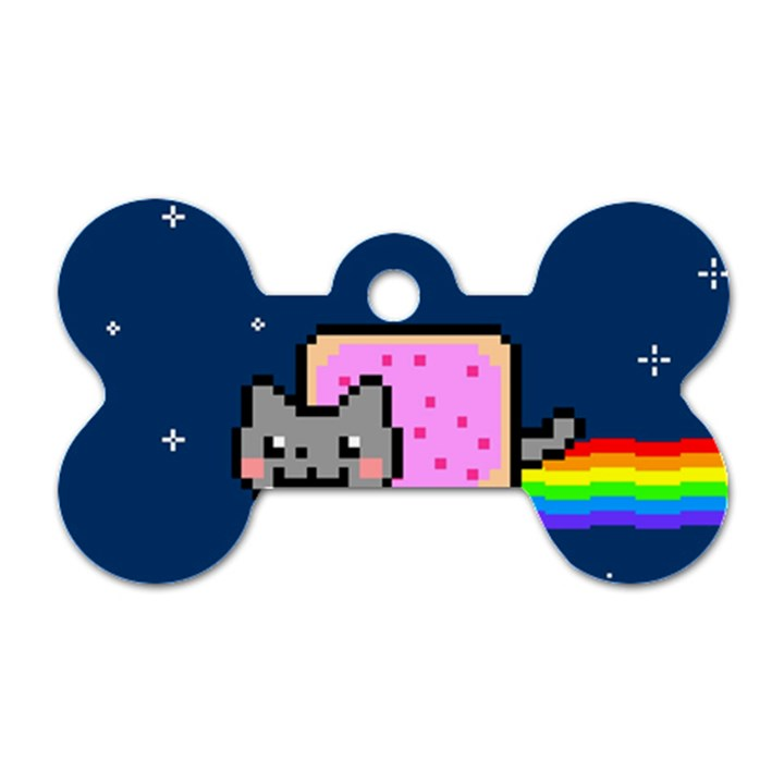 Nyan Cat Dog Tag Bone (One Side)