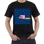 Nyan Cat Men s T-Shirt (Black) Front