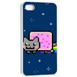 Nyan Cat Apple iPhone 4/4s Seamless Case (White) Front