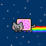 Nyan Cat Twin Hearts 3D Greeting Card (8x4) Inside