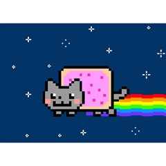 Nyan Cat Birthday Cake 3D Greeting Card (7x5)