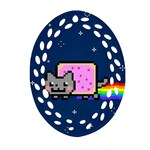 Nyan Cat Oval Filigree Ornament (2-Side)  Front