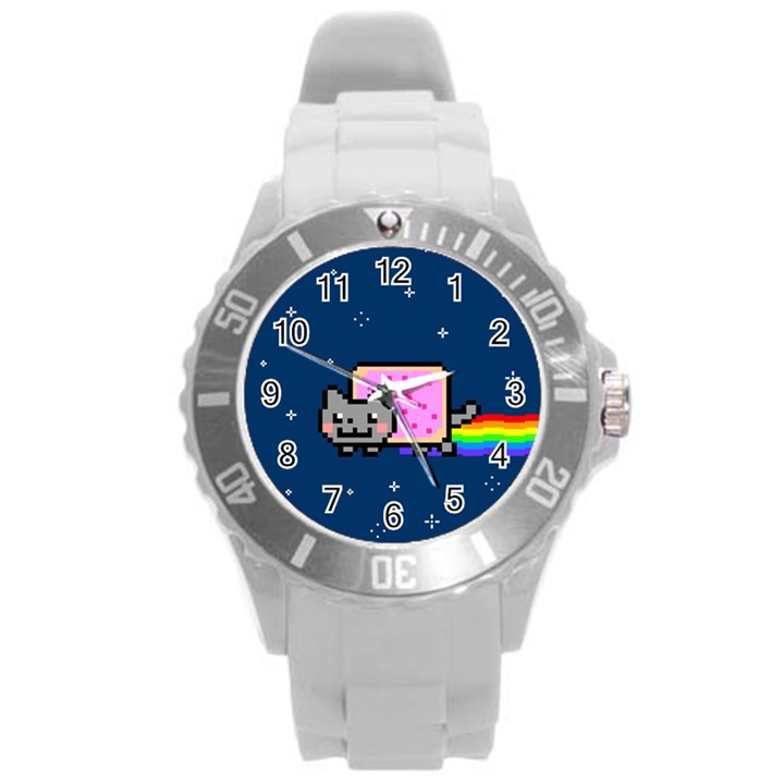 Nyan Cat Round Plastic Sport Watch (L)