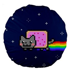 Nyan Cat Large 18  Premium Round Cushions