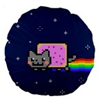Nyan Cat Large 18  Premium Round Cushions Back