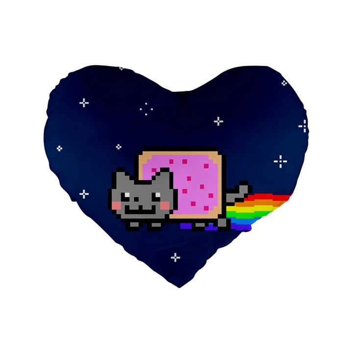 Nyan Cat Standard 16  Premium Heart Shape Cushions