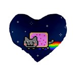 Nyan Cat Standard 16  Premium Heart Shape Cushions Back