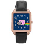 Nyan Cat Rose Gold Leather Watch  Front