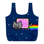 Nyan Cat Full Print Recycle Bags (L)  Front
