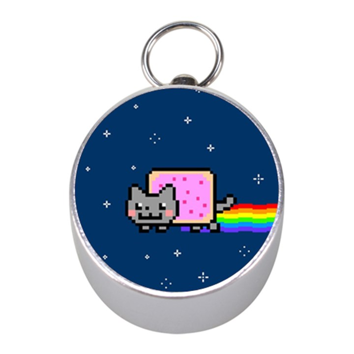Nyan Cat Mini Silver Compasses