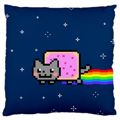 Nyan Cat Large Flano Cushion Case (one Side)