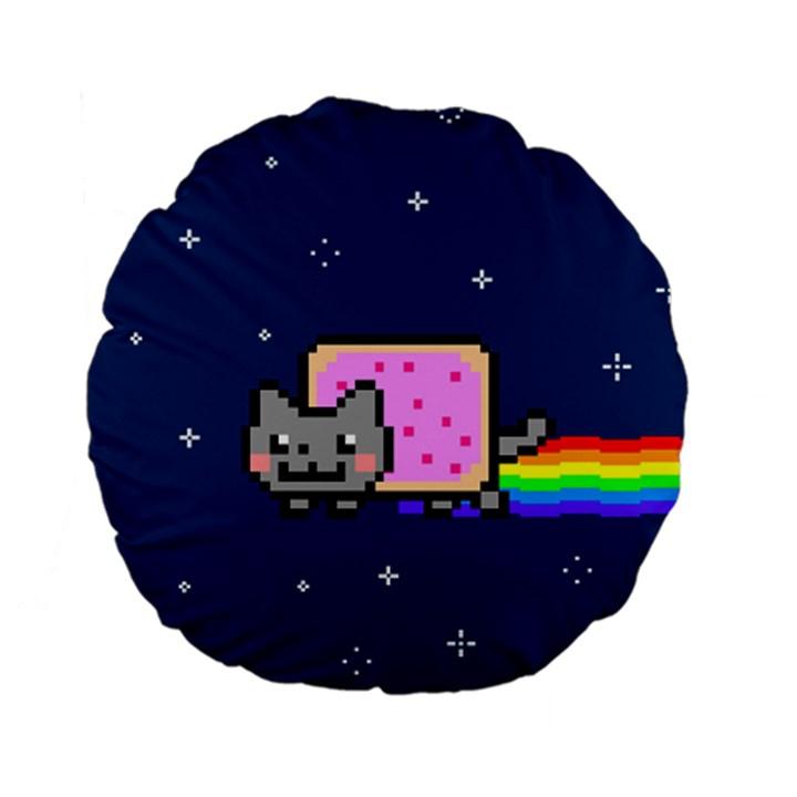Nyan Cat Standard 15  Premium Flano Round Cushions