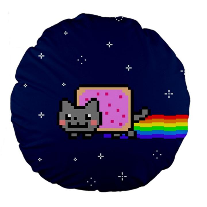 Nyan Cat Large 18  Premium Flano Round Cushions