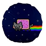 Nyan Cat Large 18  Premium Flano Round Cushions Back