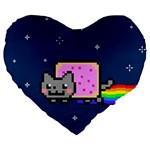 Nyan Cat Large 19  Premium Flano Heart Shape Cushions Front