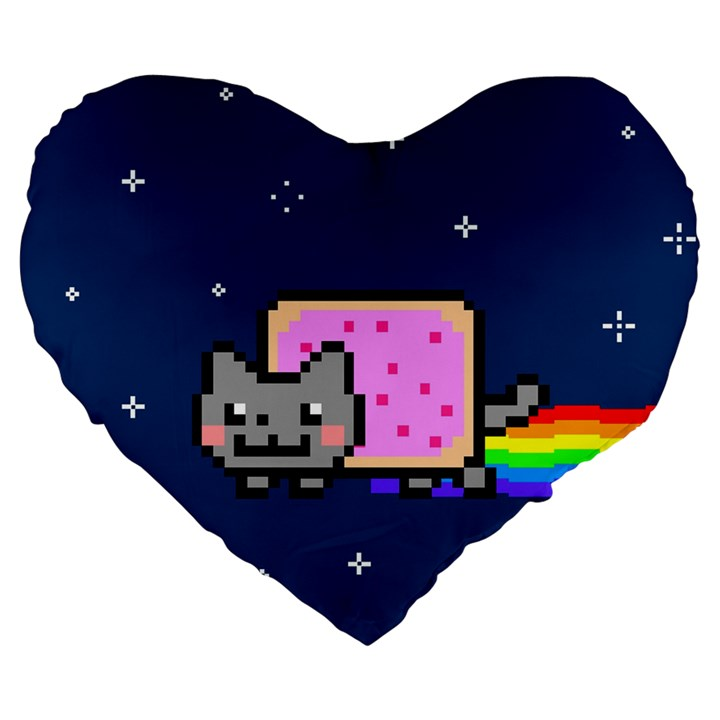 Nyan Cat Large 19  Premium Flano Heart Shape Cushions