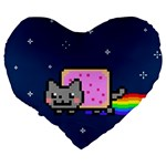 Nyan Cat Large 19  Premium Flano Heart Shape Cushions Back