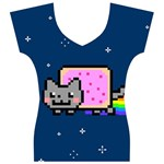 Nyan Cat Women s V-Neck Cap Sleeve Top Front