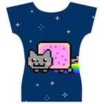 Nyan Cat Women s V-Neck Cap Sleeve Top Back
