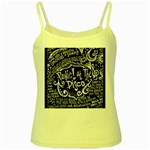 Panic ! At The Disco Lyric Quotes Yellow Spaghetti Tank Front