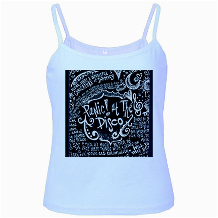 Panic ! At The Disco Lyric Quotes Baby Blue Spaghetti Tank