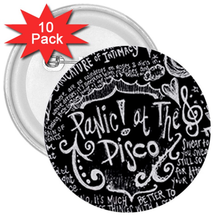 Panic ! At The Disco Lyric Quotes 3  Buttons (10 pack)