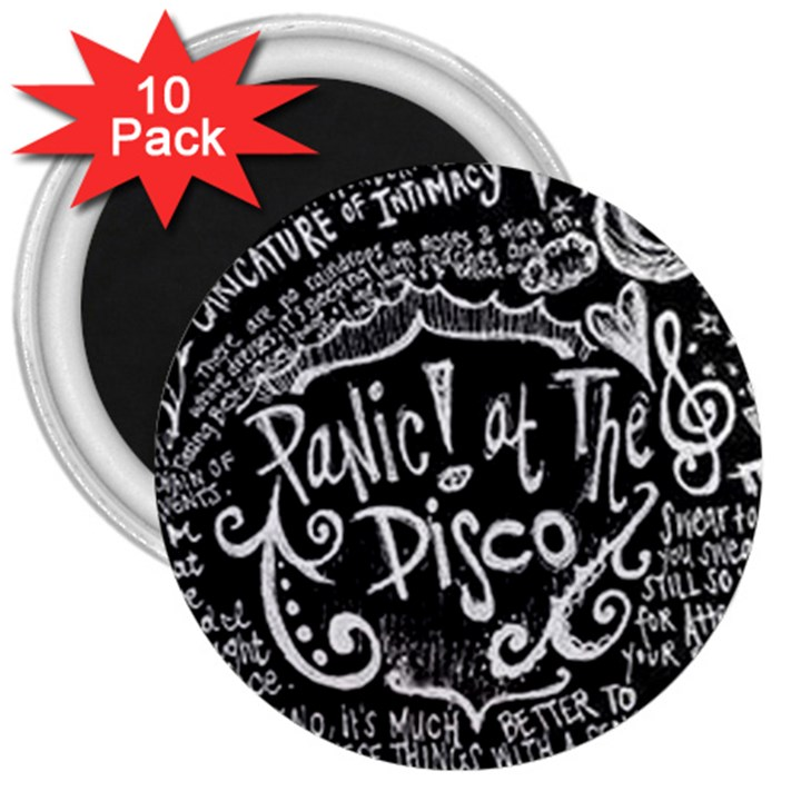 Panic ! At The Disco Lyric Quotes 3  Magnets (10 pack)