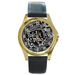 Panic ! At The Disco Lyric Quotes Round Gold Metal Watch Front