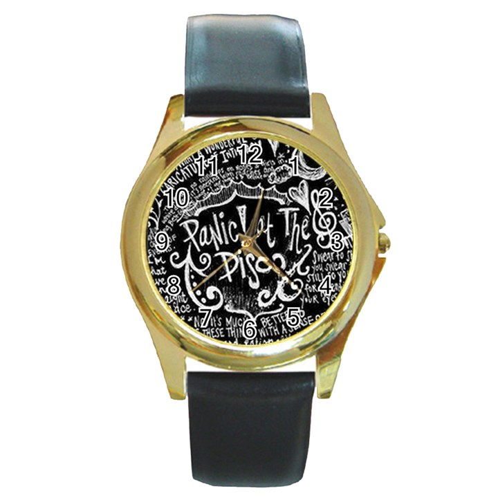 Panic ! At The Disco Lyric Quotes Round Gold Metal Watch