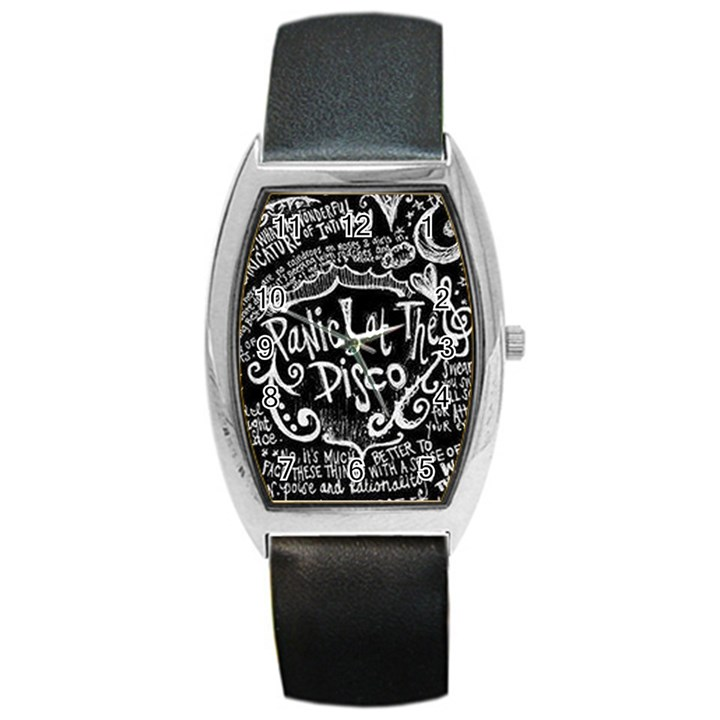 Panic ! At The Disco Lyric Quotes Barrel Style Metal Watch