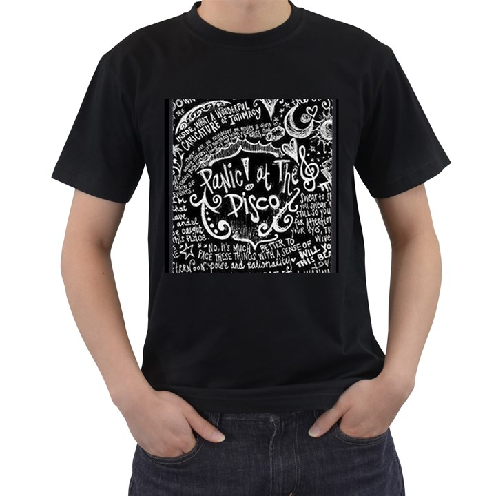 Panic ! At The Disco Lyric Quotes Men s T-Shirt (Black) (Two Sided)