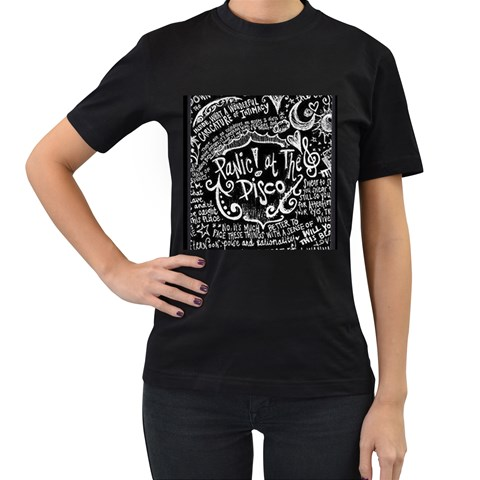 Panic ! At The Disco Lyric Quotes Women s T-Shirt (Black) (Two Sided)