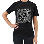 Panic ! At The Disco Lyric Quotes Women s T-Shirt (Black) (Two Sided) Front
