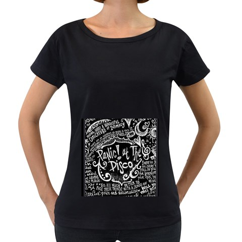Panic ! At The Disco Lyric Quotes Women s Loose-Fit T-Shirt (Black)