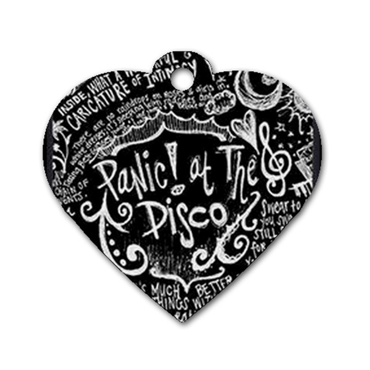 Panic ! At The Disco Lyric Quotes Dog Tag Heart (Two Sides)