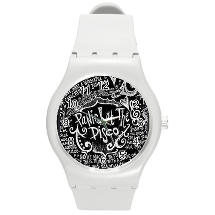 Panic ! At The Disco Lyric Quotes Round Plastic Sport Watch (M)