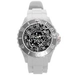 Panic ! At The Disco Lyric Quotes Round Plastic Sport Watch (L) Front