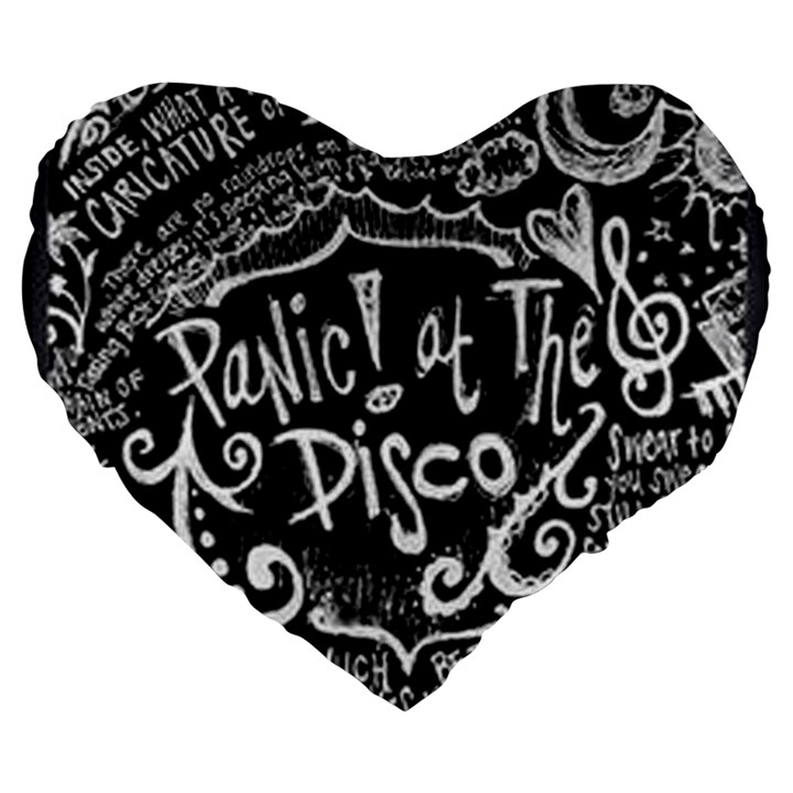 Panic ! At The Disco Lyric Quotes Large 19  Premium Heart Shape Cushions