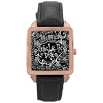Panic ! At The Disco Lyric Quotes Rose Gold Leather Watch  Front